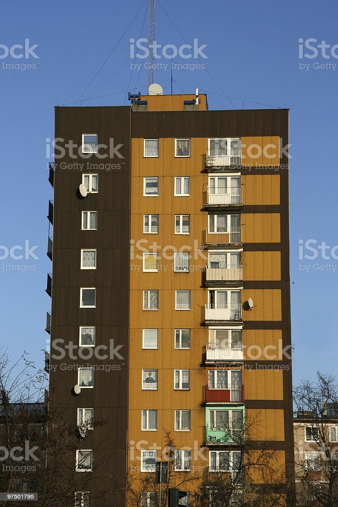 Apartment building in Poland stock photo