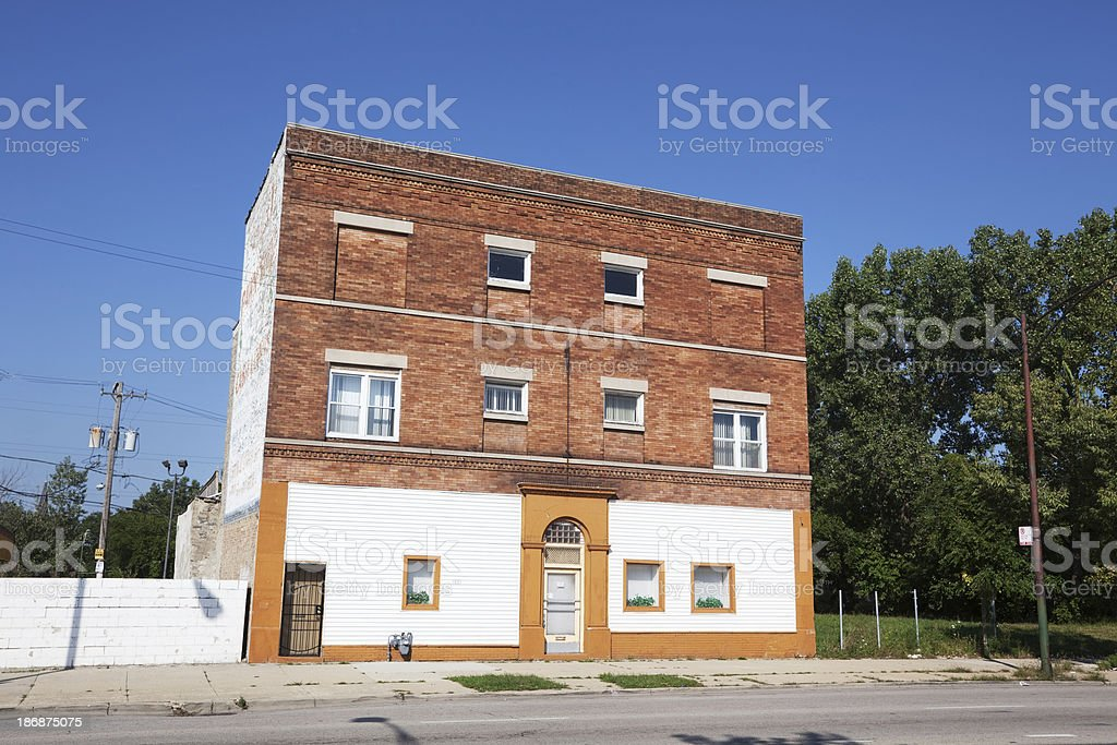 Apartment building in Washington Park, Chicago royalty-free stock photo