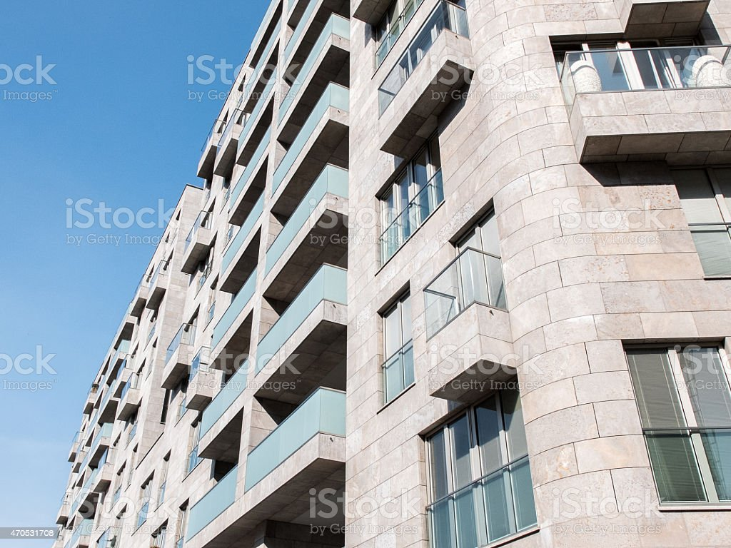 Apartment building in West Germany stock photo