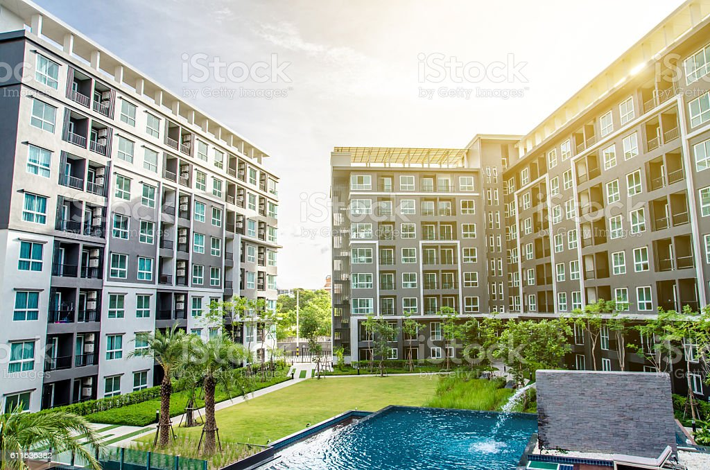 apartment building  liveing zone stock photo