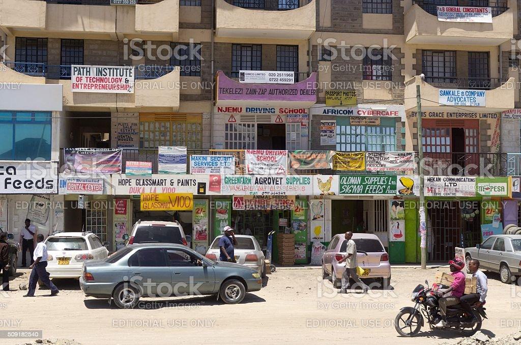 Apartment Building Near Slum in Nairobi stock photo
