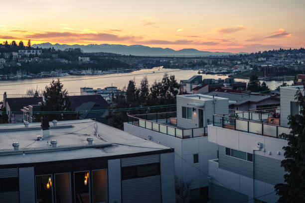 Apartment Building Rooftop View of Sunset on Lake Union Seattle stock photo