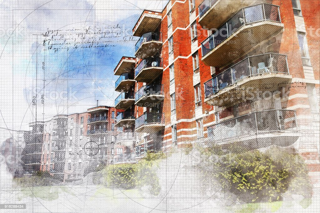 Apartment Building with Grunge Effect stock photo