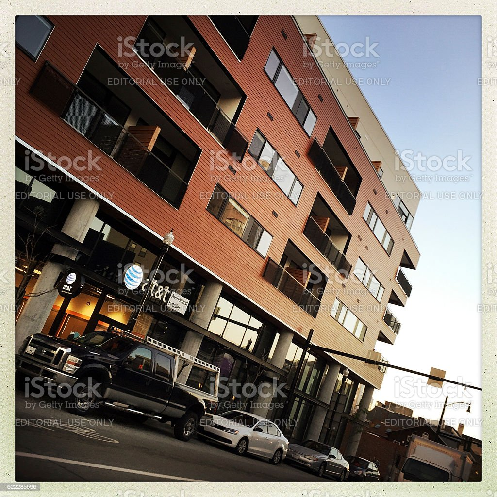 Apartment Buildings along Centre Avenue stock photo