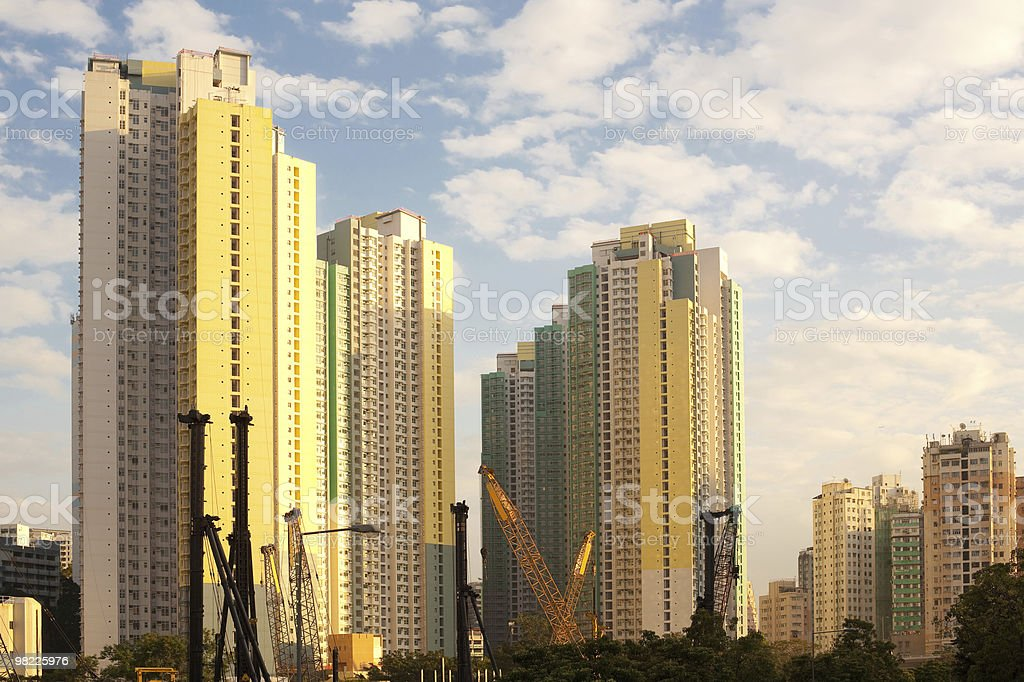 Apartment buildings and construction site royalty-free stock photo