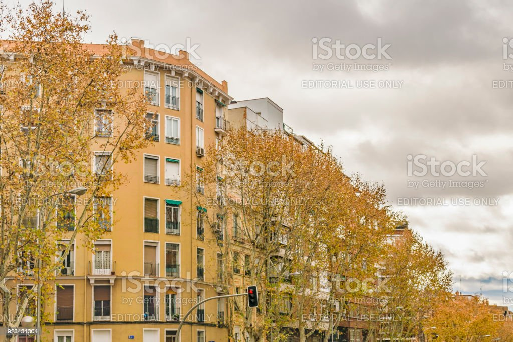 Apartment Buildings Facade, Madrid, Spain stock photo