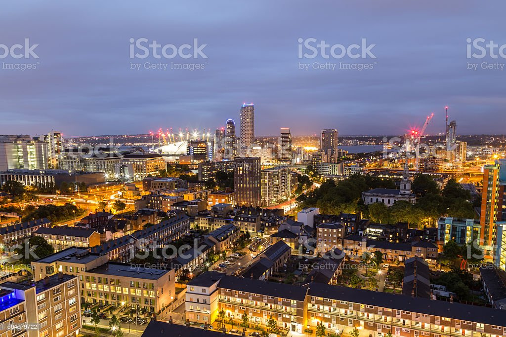 Apartment buildings in East London at night stock photo