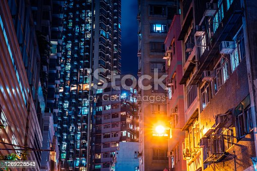 Apartment buildings in Hong Kong at night