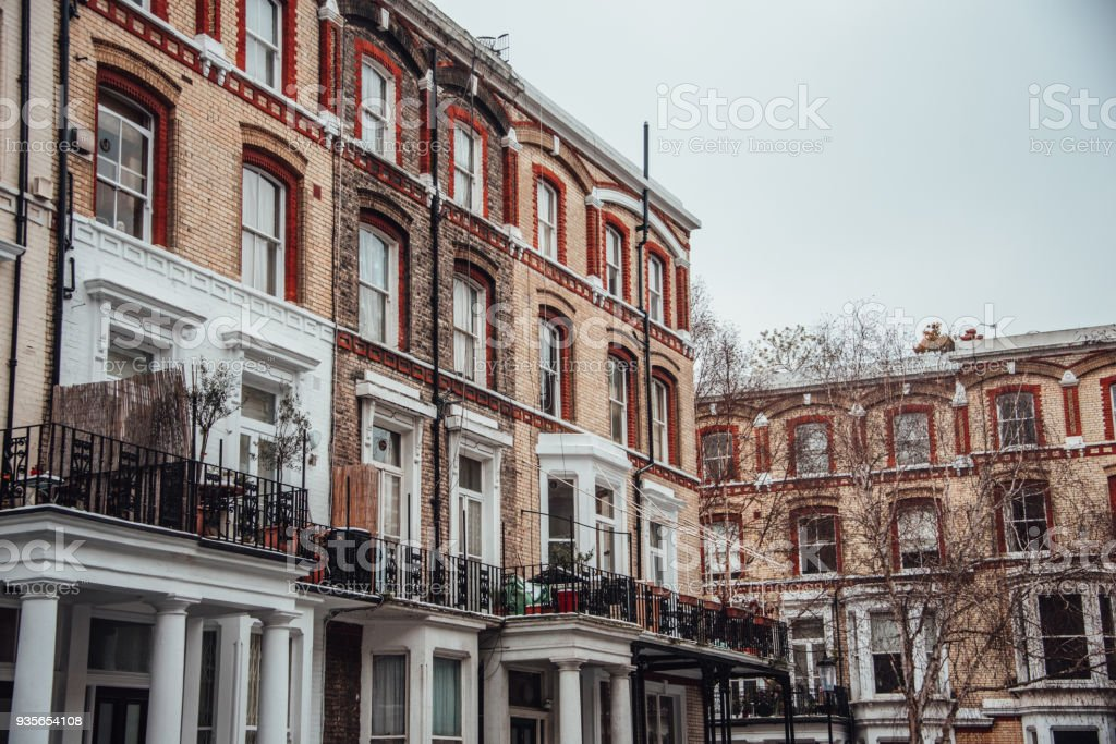 Apartment buildings in London stock photo