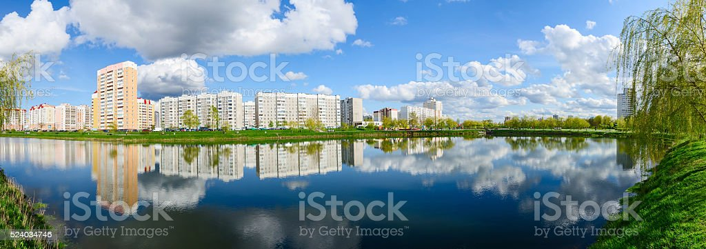 Apartment buildings in recreation area with cascade of lakes, Gomel stock photo
