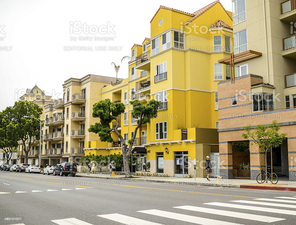 Apartment buildings in Santa Monica downtown stock photo