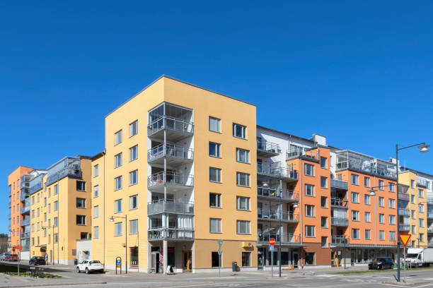 Apartment buildings in Stockholm stock photo
