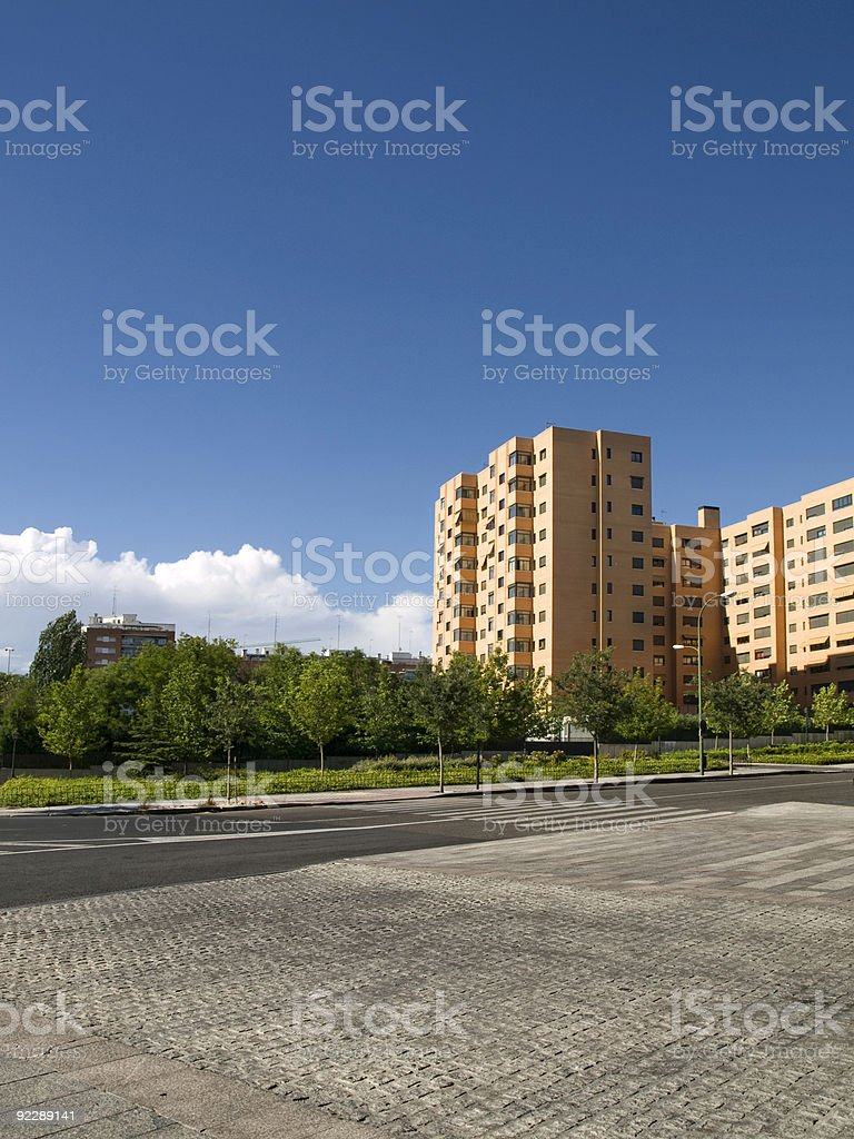 Apartment Buildings in the park royalty-free stock photo