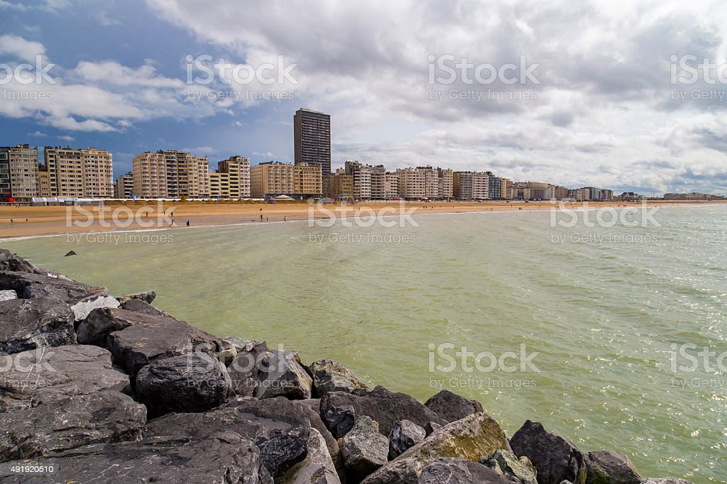 Apartment buildings on a seafront promenade in Ostend, Belgium​​​ foto