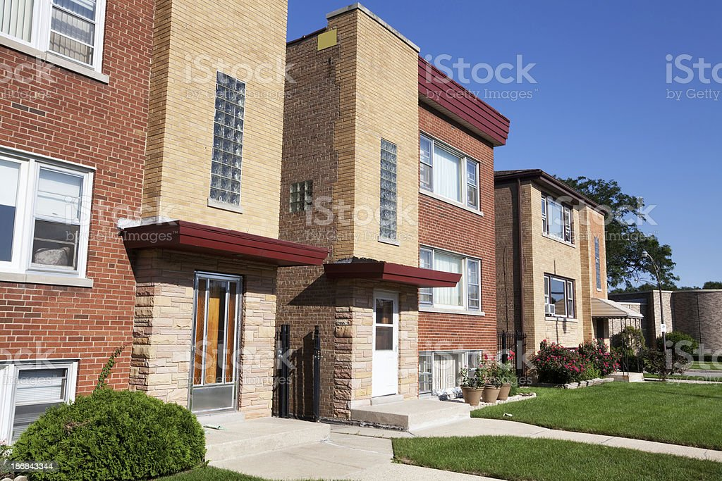 Apartment buildings on Central Avenue in Jefferson Park, Chicago royalty-free stock photo