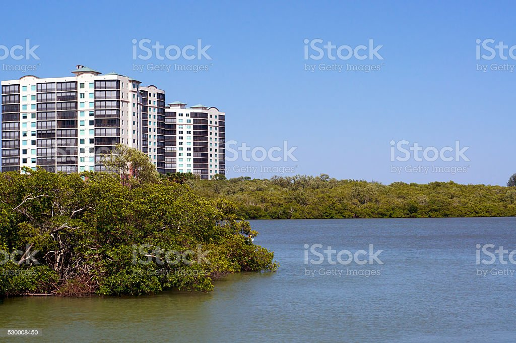 Apartment buildings on  florida coast stock photo