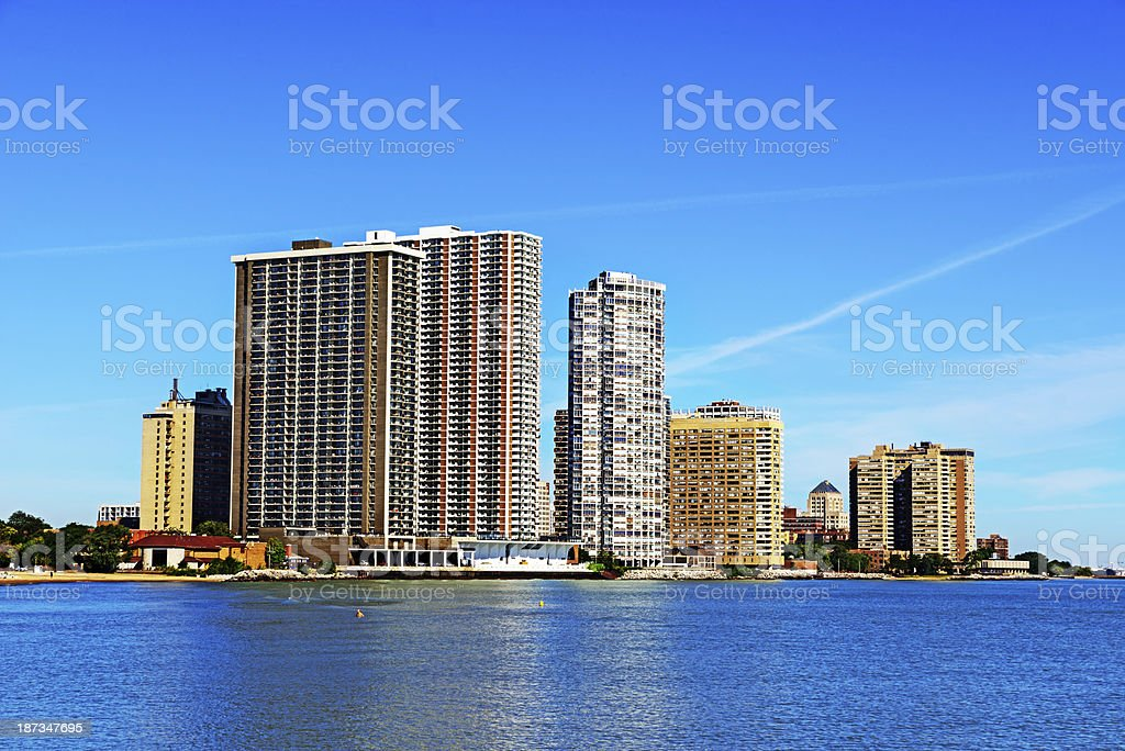 Apartment buildings overlooking Lake Michigan in Chicago royalty-free stock photo