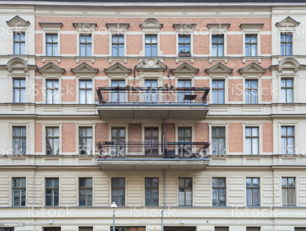 Apartment Bulding Elegance Facade with Balcony, Berlin stock photo