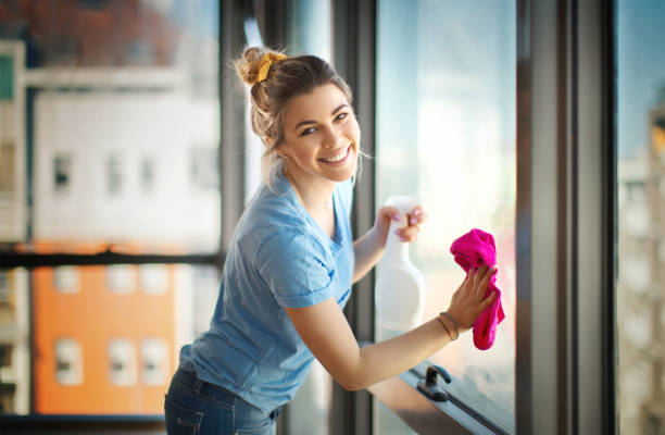 apartment cleaning. - maid stock pictures, royalty-free photos & images
