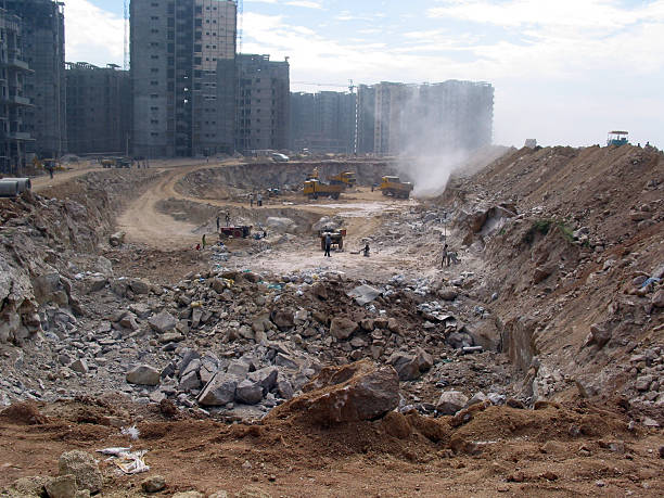 Apartment complex being built in India stock photo