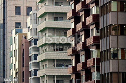 istock Apartment complex in the office area of Tokyo 1129321657