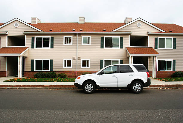 apartment complex - stationary stock pictures, royalty-free photos & images