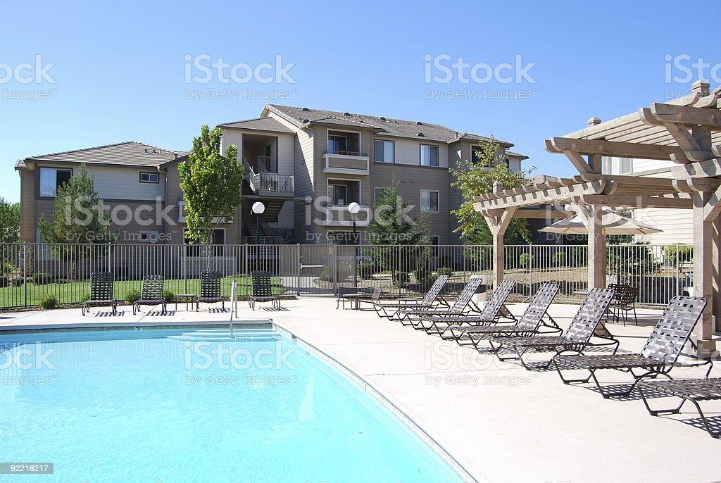 Apartment Complex Pool stock photo