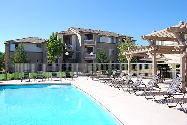 Apartment Complex Pool stock photo