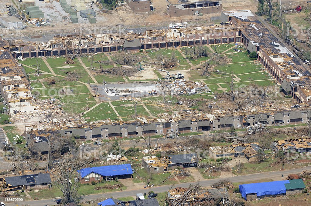 Apartment complex severely damaged by tornado stock photo