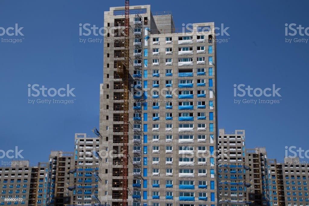 Apartment construction site stock photo