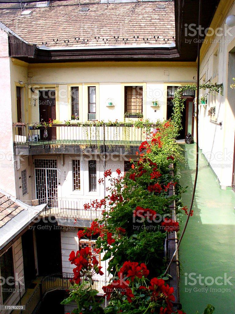 apartment courtyard stock photo