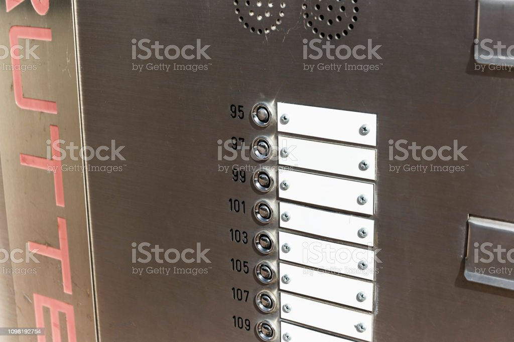 Apartment Door Bell And Numbers Stock Photo - Download Image ...