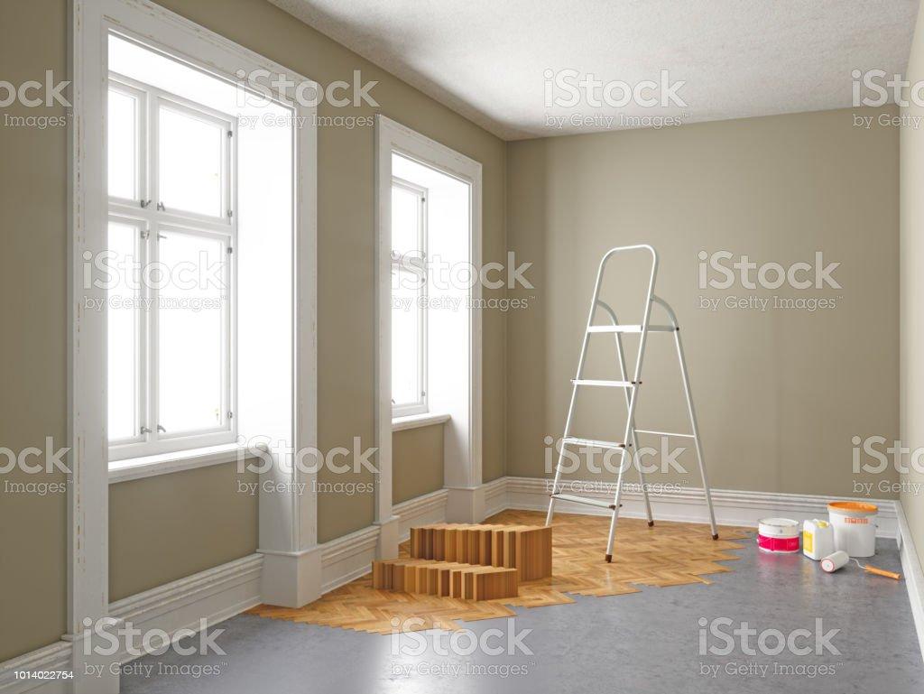 Wohnung während der Renovierung. Heimwerken-Konzepte – Foto