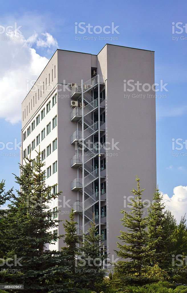 Apartment fire escapes royalty-free stock photo