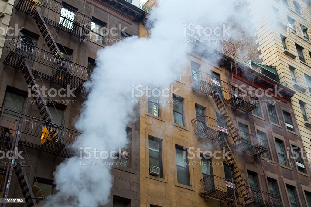 Apartment fire in the City stock photo