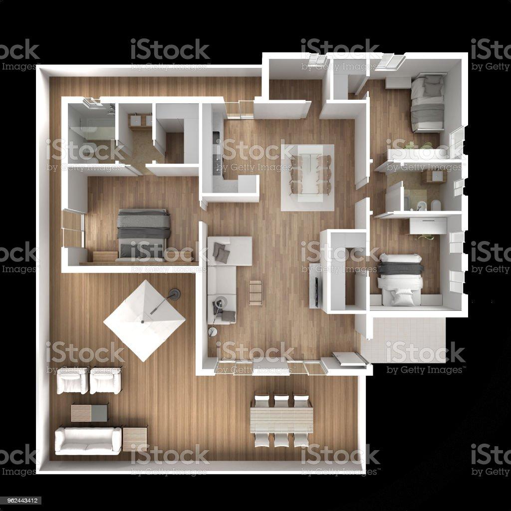 Apartment flat top view, furniture and decors, plan, cross section interior design, architect designer concept idea, dark black background stock photo
