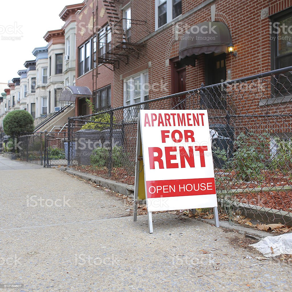 Apartment for Rent Sign stock photo