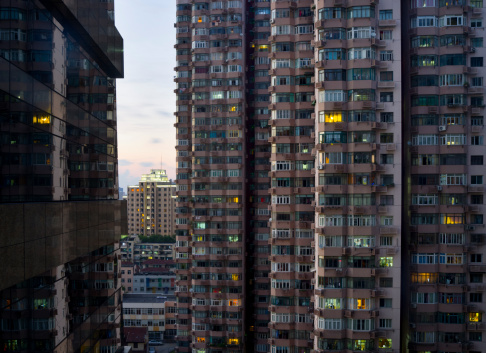 Apartment House At Night In Shanghai China Stock Photo - Download Image Now