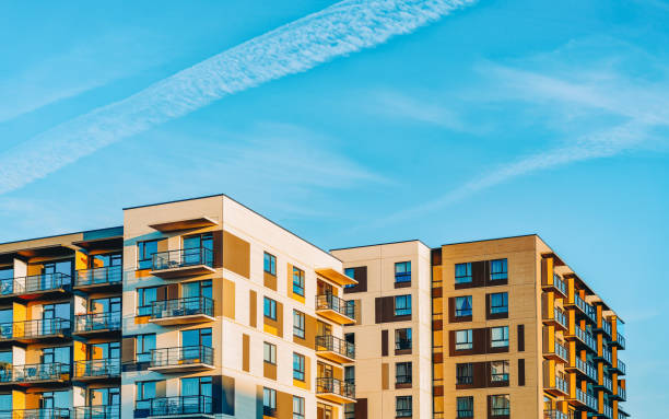 EU Apartment house esidential buildings complex real estate copy space stock photo