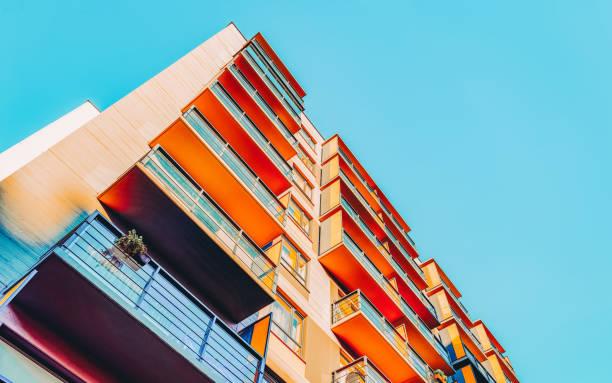 EU Apartment house home residential building complex real estate copy stock photo