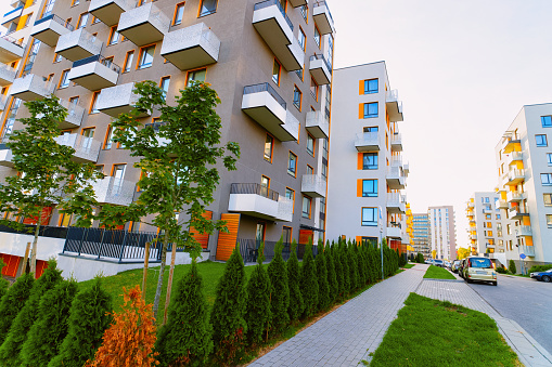 Apartment house residential building complex real estate concept street