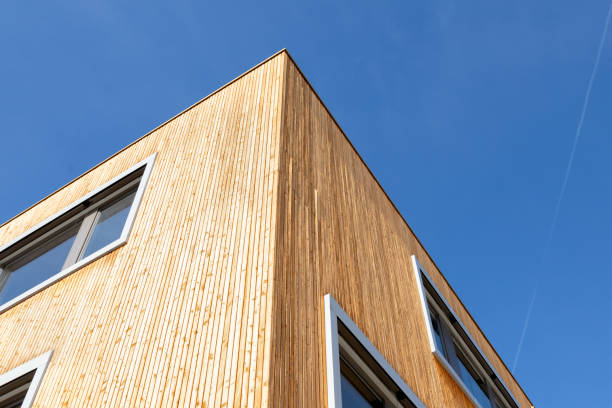 Apartment house with wood facade stock photo