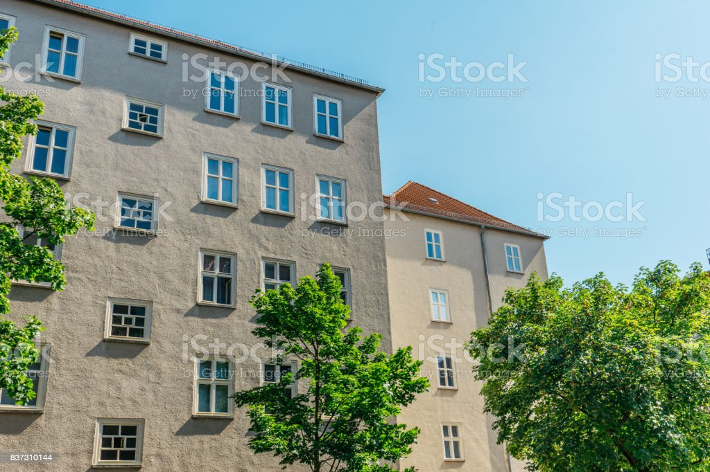 apartment houses with clean sky stock photo