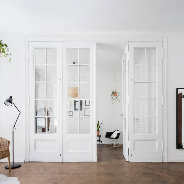 Apartment interior with classic doors stock photo