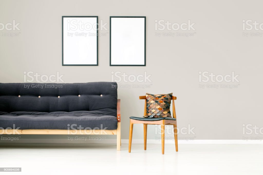 Apartment interior with wooden chair stock photo