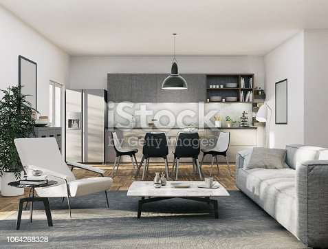 istock Apartment - Kitchen and Living area 1064268328