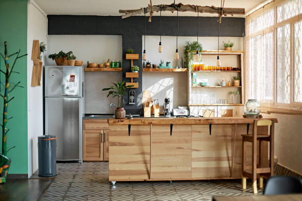 Apartment Kitchen in Modern Rustic Style stock photo