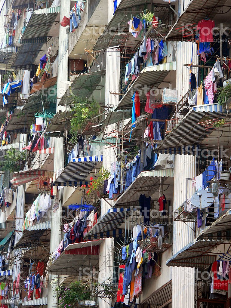 Apartment Laundry Asia royalty-free stock photo