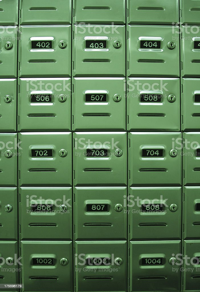Apartment Mailboxes - Steel Door stock photo