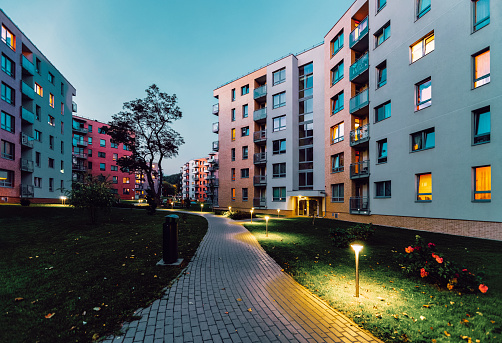 Apartment modern houses homes residential buildings real estate outdoor evening